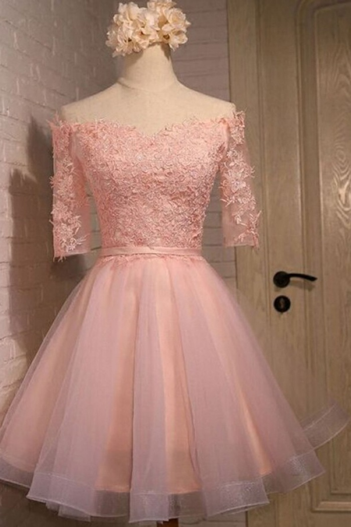 42bda34592 Exquisite Off Shoulder Half Sleeves Knee-Length Pink Organza Homecoming  Dress with Appliques Sash 0