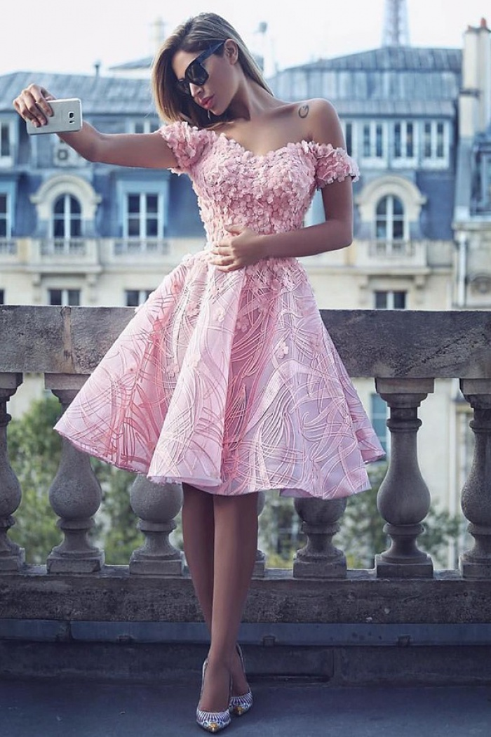 3119b5ce13 A-Line Off-the-Shoulder Knee-Length Pink Lace Homecoming Dress with ...