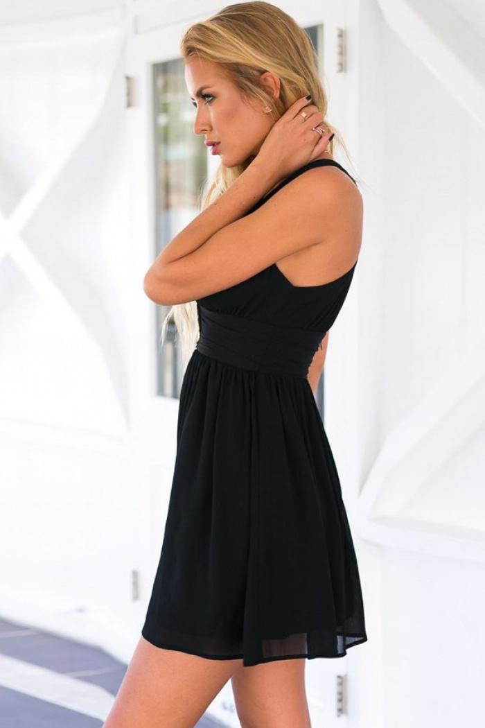 A Line Deep V Neck Keyhole Back Chiffon Little Black Dress