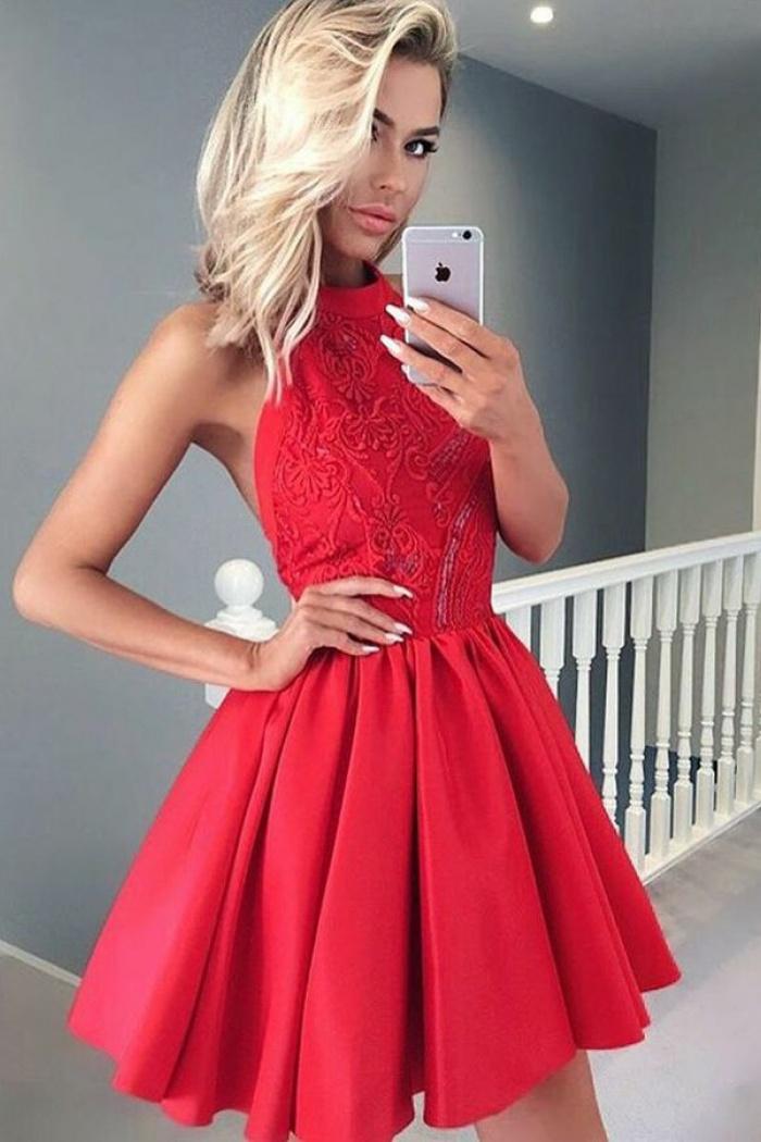 Short Red Halter Dress