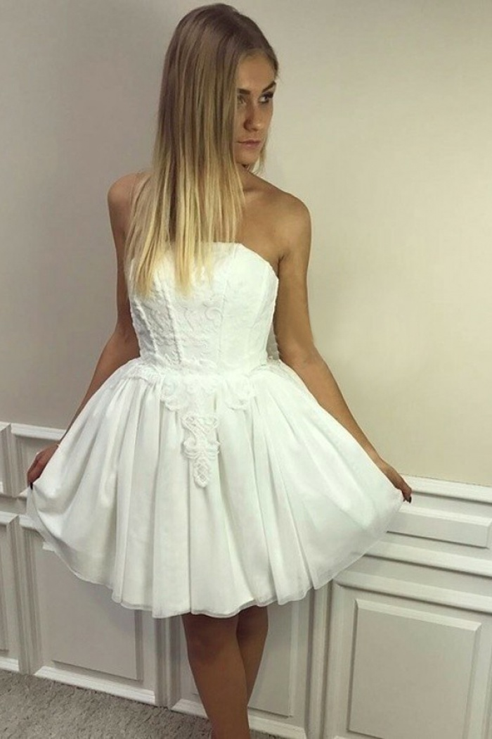 A Line Strapless Short White Tulle Homecoming Dress With Liques 0