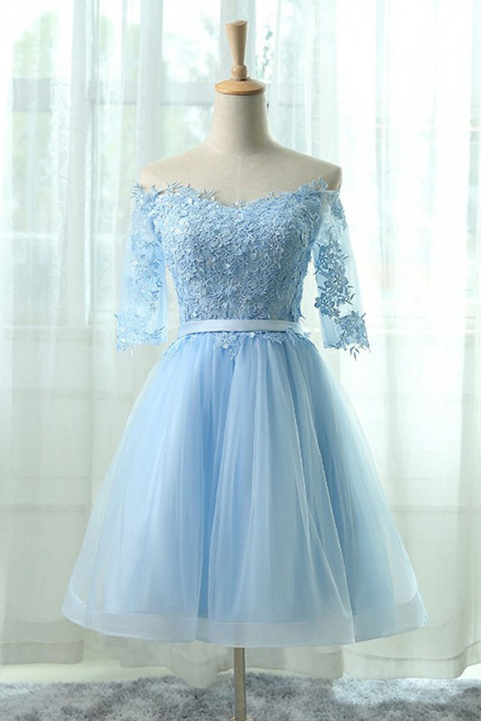 ca43698bc5 A-Line Off-the-Shoulder Half Sleeves Blue Tulle Homecoming Dress with  Appliques