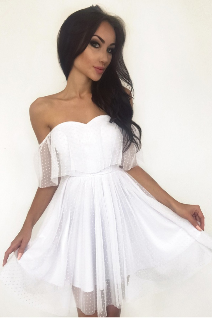 A Line Off The Shoulder Short White Tulle Homecoming Dress With Ruffles 0