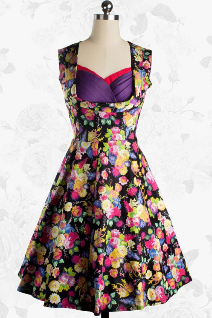 afa02c898a8 Women s Vintage 50s Floral Rockabilly Pinup Swing Cocktail Party Dress 0