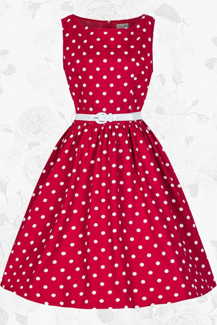 ea929d61bfcb Red Retro Scoop 50s 60s White Polka Dots Party Swing Cocktail Dress With  Belt 0
