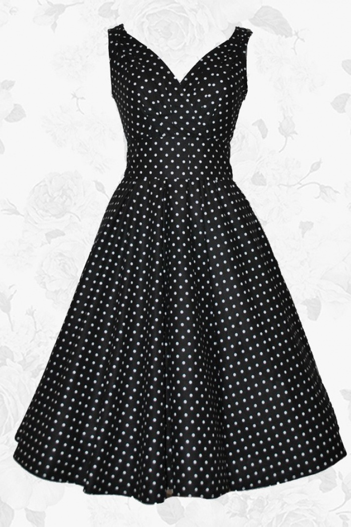 4c44e731aff4 Black Vintage Style V-neck White Polka Dots 50s 60s Party Cocktail Dress 0