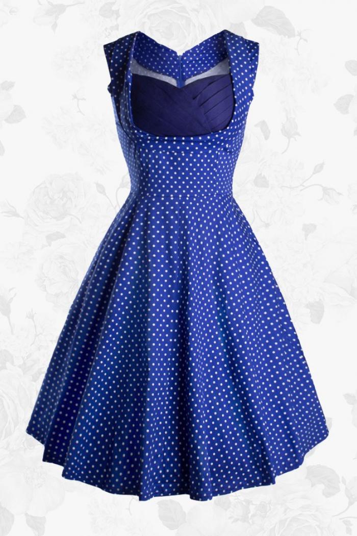 a56d20ee7d47ef Royal Blue Vintage 50s Sweetheart White Polka Dots Party Swing Women Dress 0
