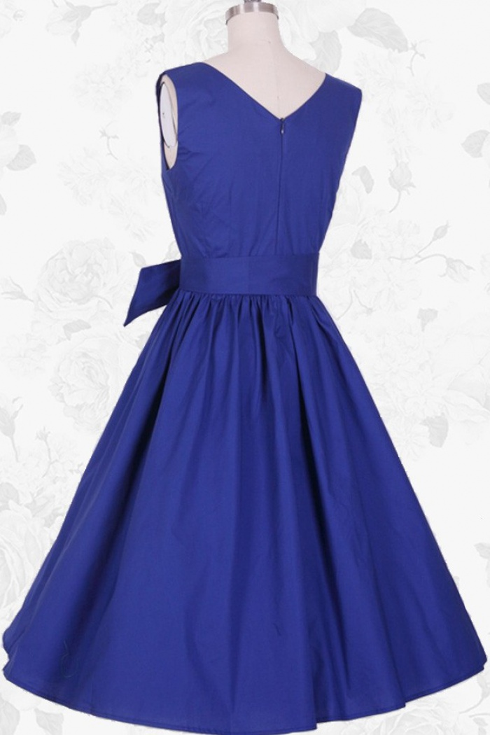 fff399d8a0f1d Royal Blue Vintage Style O-Neck Empire 50s 60s Pinup Party Swing Dress For  Women