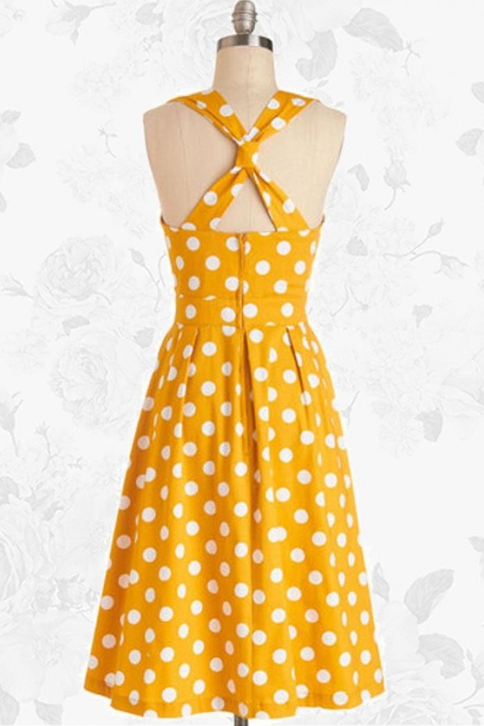 8dbeda63aeb2 Yellow Retro Polka Dot 50s Style Vintage Rockabilly Swing Party Dress 2