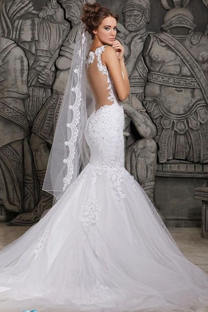 Beauty Tulle Mermaid Lace Wedding Dress with Wedding Veil ...