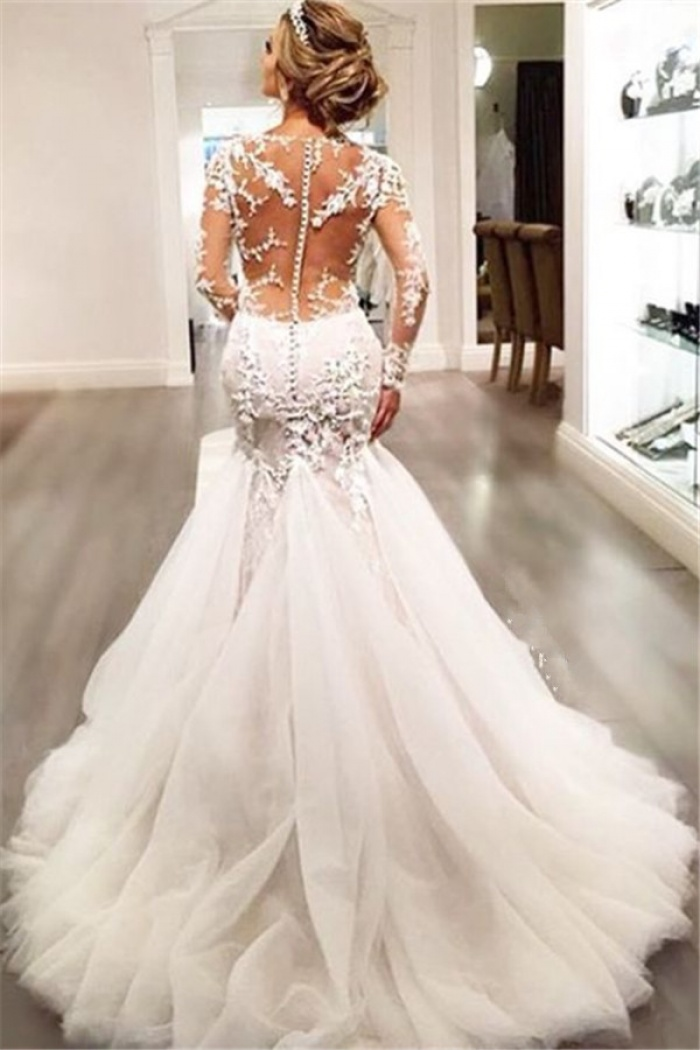 Mermaid Long Sleeves Lace Beaded Sheer Back Long Wedding Dress
