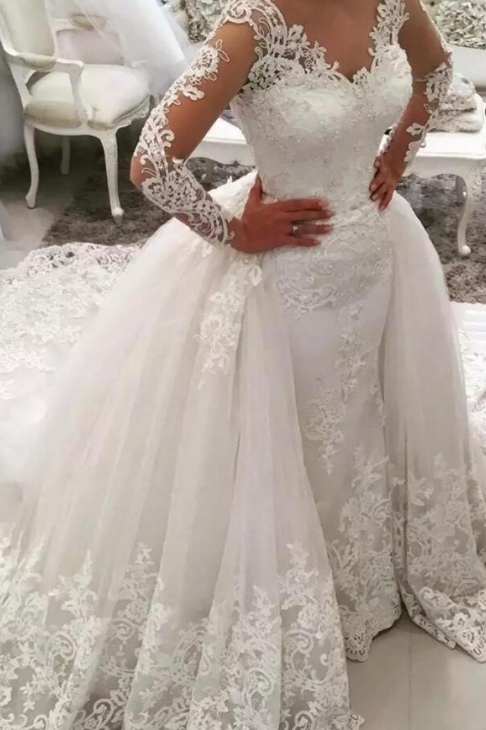 653194d803c6 Appliques Long Sleeves V Neck Watteau Train Mermaid Lace Wedding Dress 0