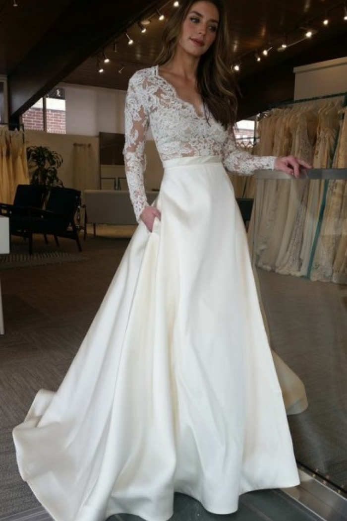 3fe1cb4c8f79 Deep V-Neck Appliques Pockets Long Sleeves Sweep Train A-Line Satin Wedding  Dress