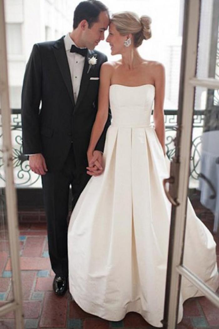 Sweetheart Court Train Ruched A Line Satin Wedding Dress Wisebridal Com