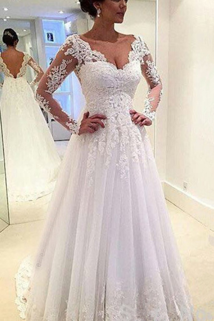 A Line Wedding Dresses Simple High Neck Appliques Long Sleeve Lace Wedding Gowns