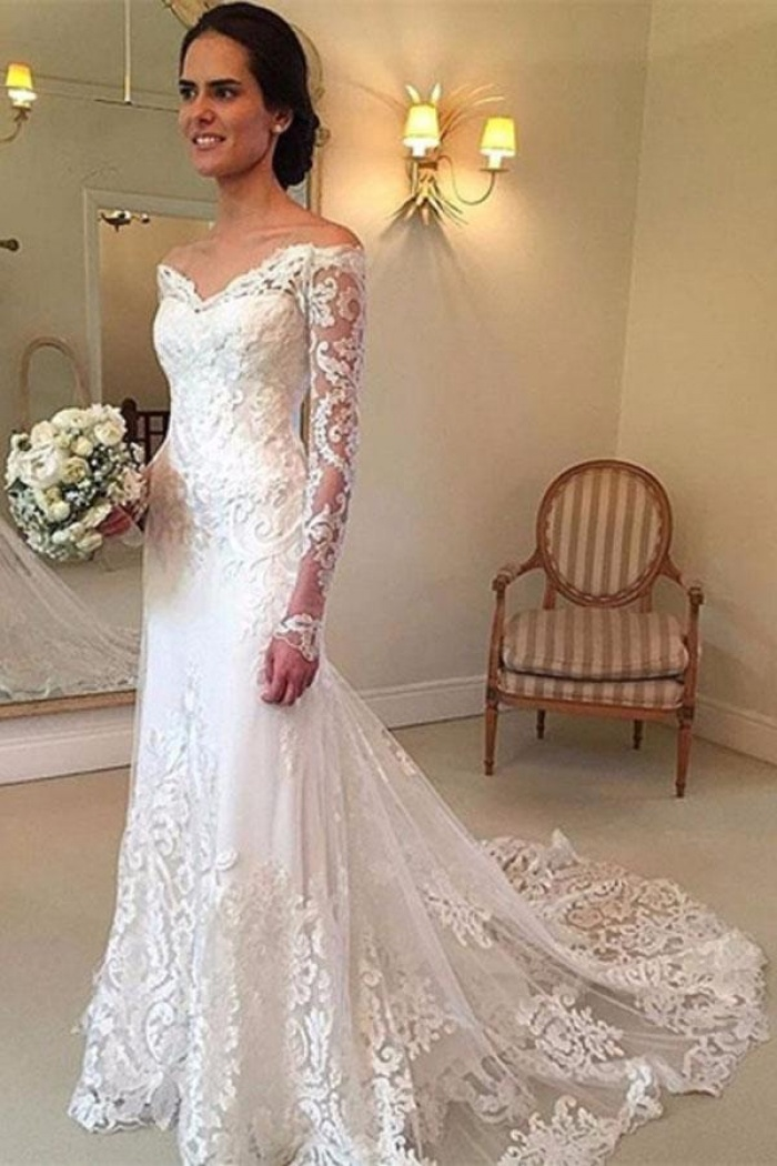 Off The Shoulder Long Sleeve Lace Sheath V Neck Court Train Wedding