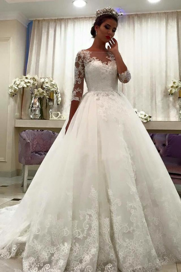 04ea5aa1d37f Bateau Half Sleeve Lace Ball Gown Bridal Dresses Appliques Chapel Train  Wedding Dresses 2018 BA6591 0