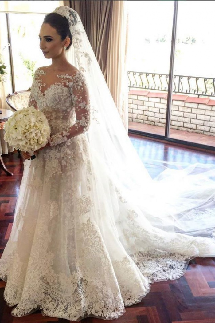 A Line Wedding Dresses.Classic Lace A Line Wedding Dress 2018 Long Sleeve With Flowers Custom Made Wedding Gowns Ba3455