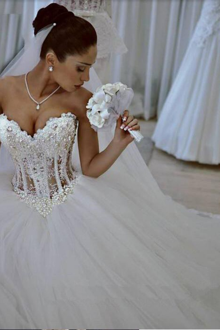 Sparkly Crystal Ball Gown Corset Wedding Dress With Beadings Sweetheart Tulle Princess Bridal 0