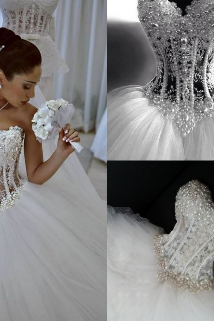 Sparkly Crystal Ball Gown Corset Wedding Dress With Beadings Sweetheart Tulle Princess Bridal Gown Wisebridal Com