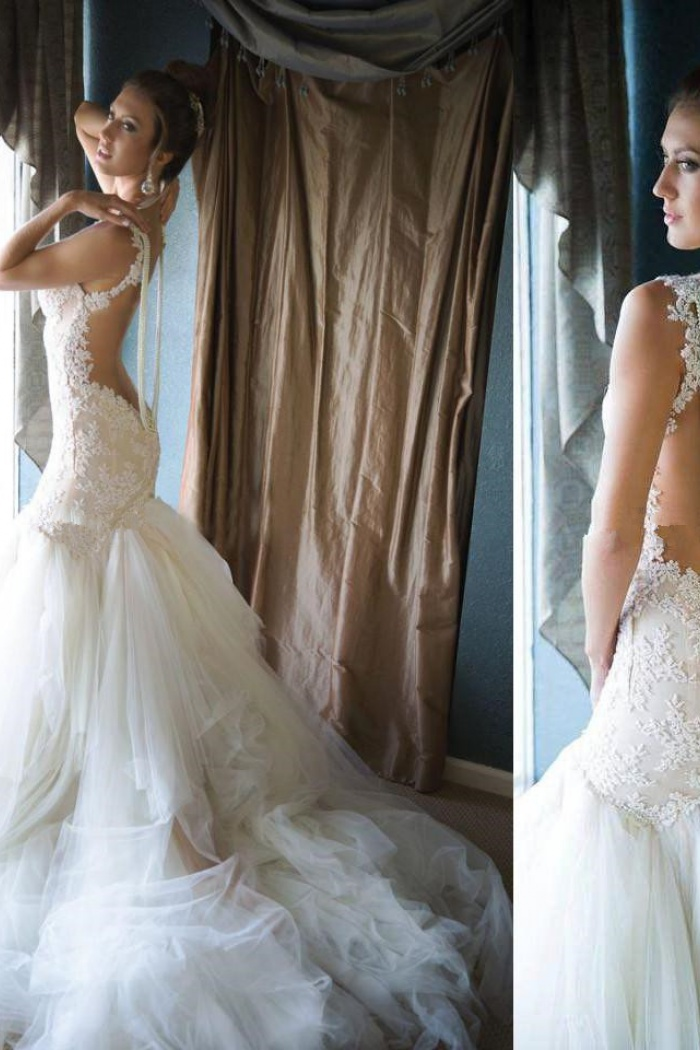 White Sexy Mermaid Backless Bridal Gowns Spaghetti Strap Tulle Lace Long Wedding Dress