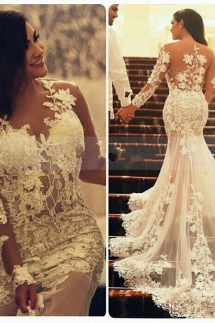 Sexy Sheer Tulle Mermaid Bridal Gowns Court Train Long Sleeve Plus Size Wedding Dresses Mh009