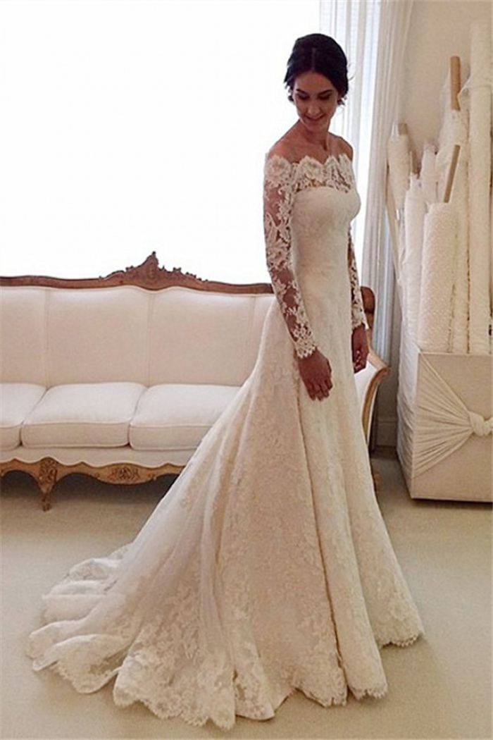 dresses with sleeves for wedding white the shoulder lace sleeve bridal gowns 3747