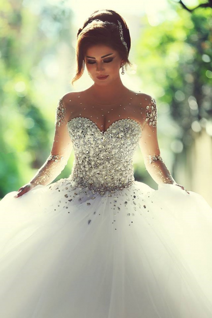 Sheer Sweetheart Crystal Ball Gown Wedding Dresses Lace,up Long Sleeve  Tulle Beautiful Wedding Princess Dress MH001