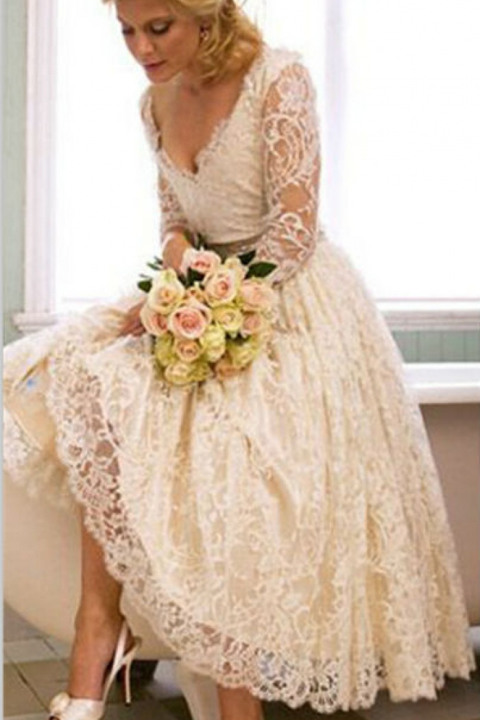 A Line V Neck 34 Long Sleeve Lace Wedding Dress New Arrival Tea Length Plus Size Bridal Gown Ba6794