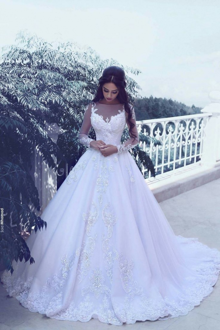 Elegant Tulle Appliques Long Sleeves Wedding Dresses 2018 Bridal ...