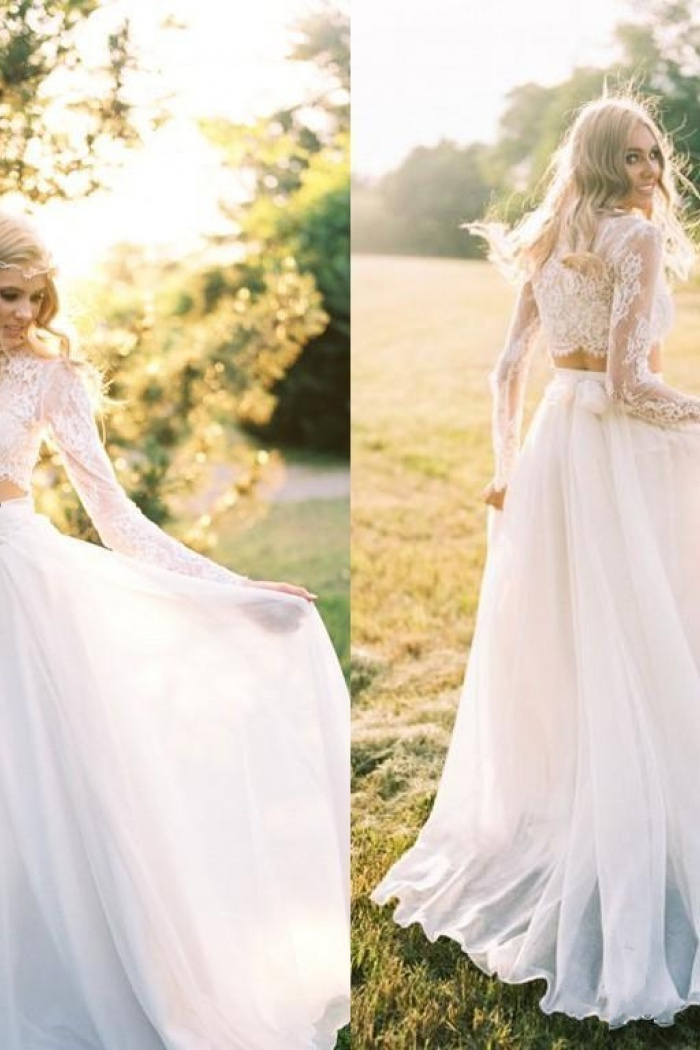 Chiffon Long Sleeves Lace Two Piece A Line Elegant Wedding Dresses 0