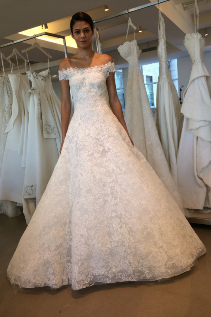 Newest A Line Lace Off The Shoulder Wedding Dress 2018