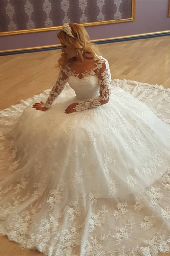Appliques Vintage Lace Ball Gown Long Sleeves Bride Dress Gorgeous ...