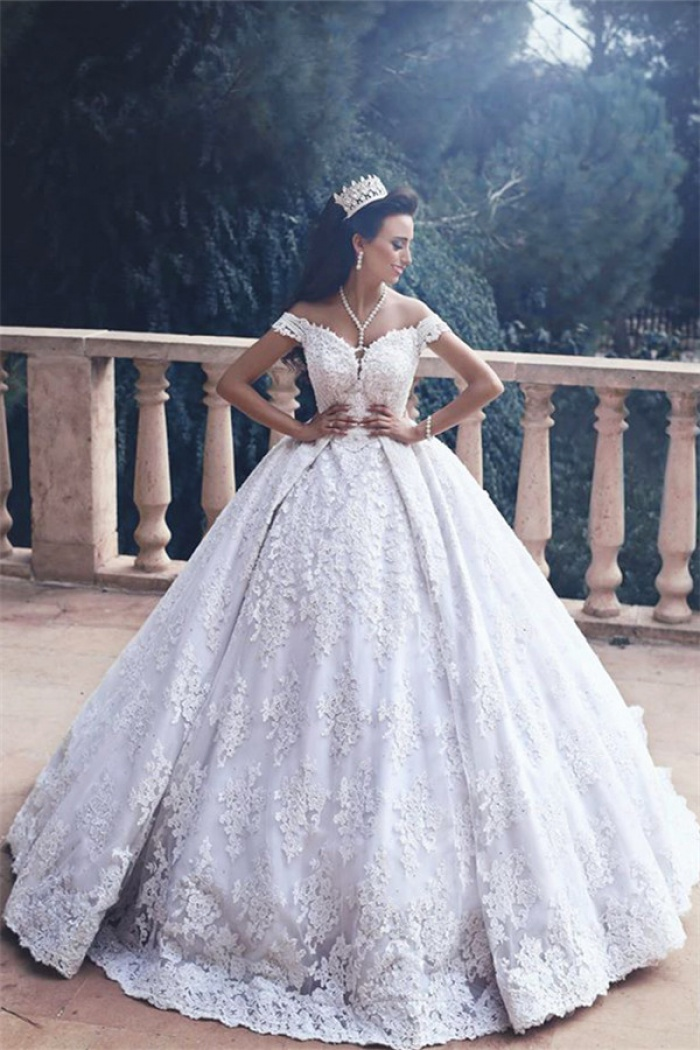 Lace Liques Princess Bride Dress Luxurious 2018 Off The Shoulder Ball Gown Wedding