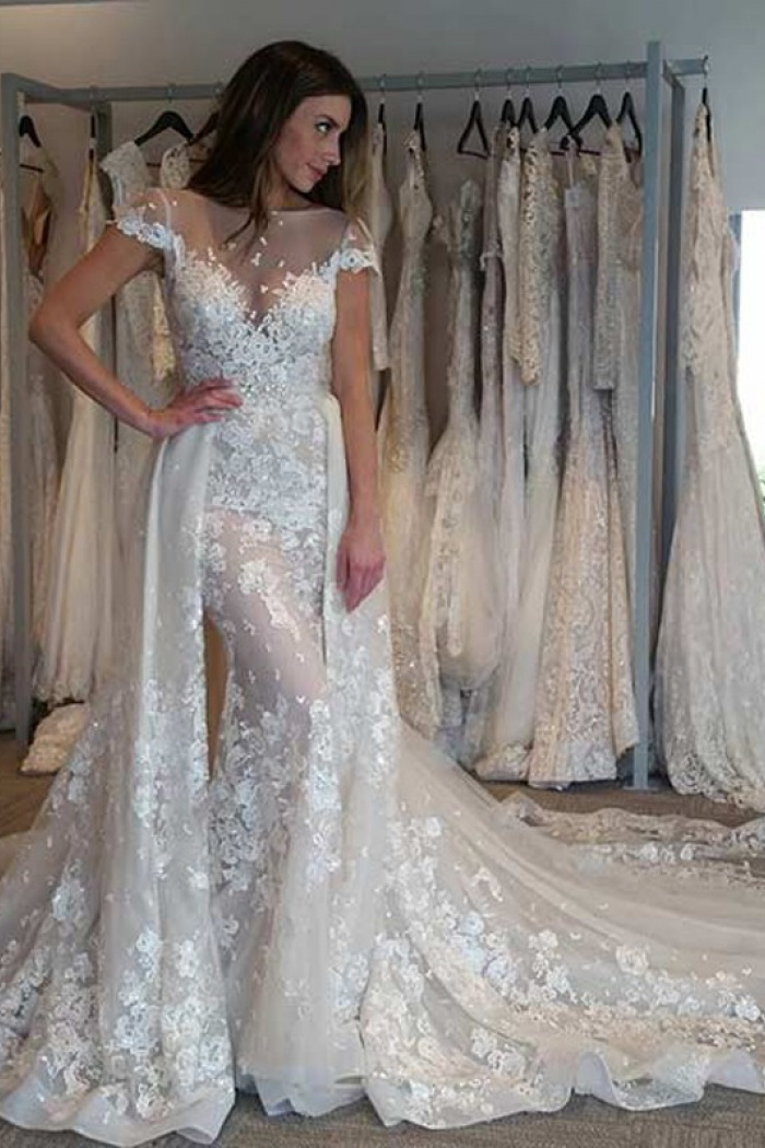 Illusion Cap Sleeves Bride Dresses 2018 Gorgeous Lace Liques Overskirt Wedding Gowns 1
