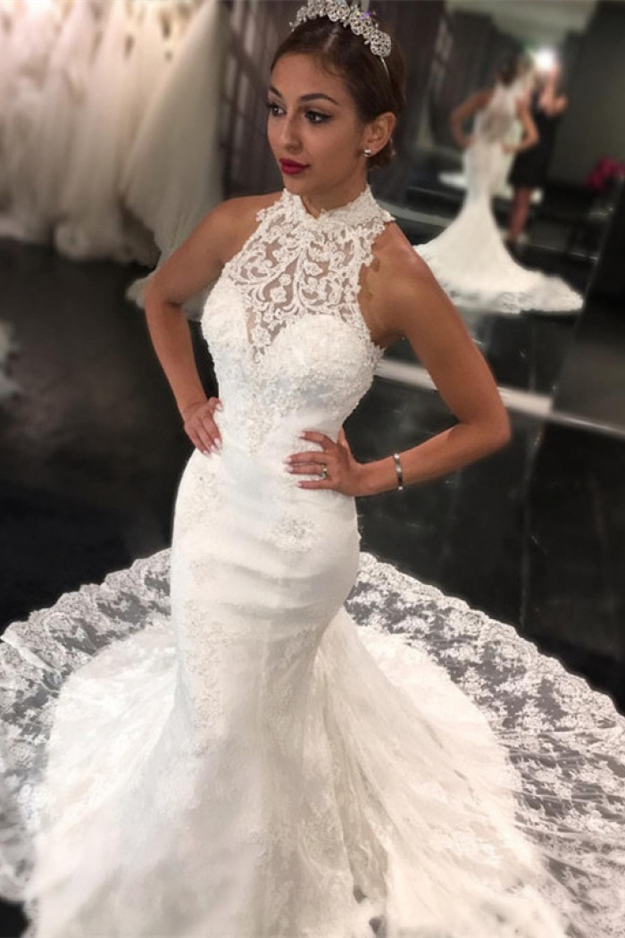 Sweep Train High Neck Bride Dress 2018 Retro Lace Sleeveless Mermaid ...