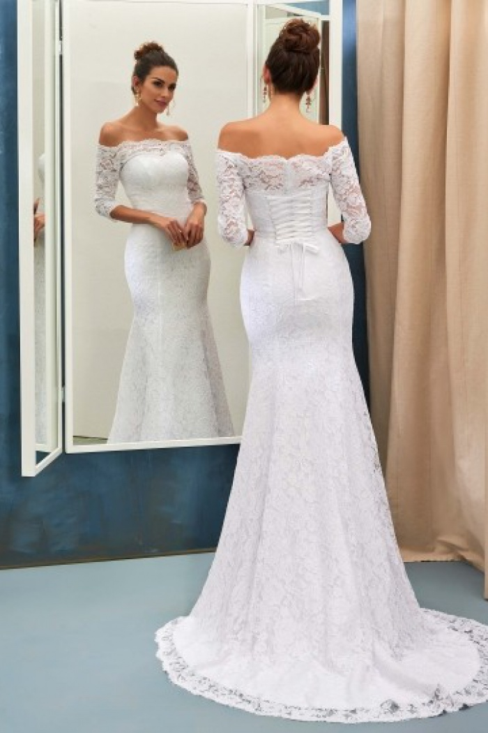 Half Sleeves Bride Dress Lace Simple Sweep Train Off The Shoulder Up