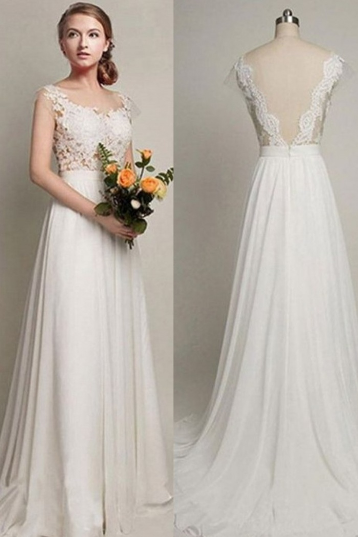 Sweep Train Straps Simple Lace Bride Dress 2018 Summer Beach A-line  Backless Wedding Dress e46a3cad35b8