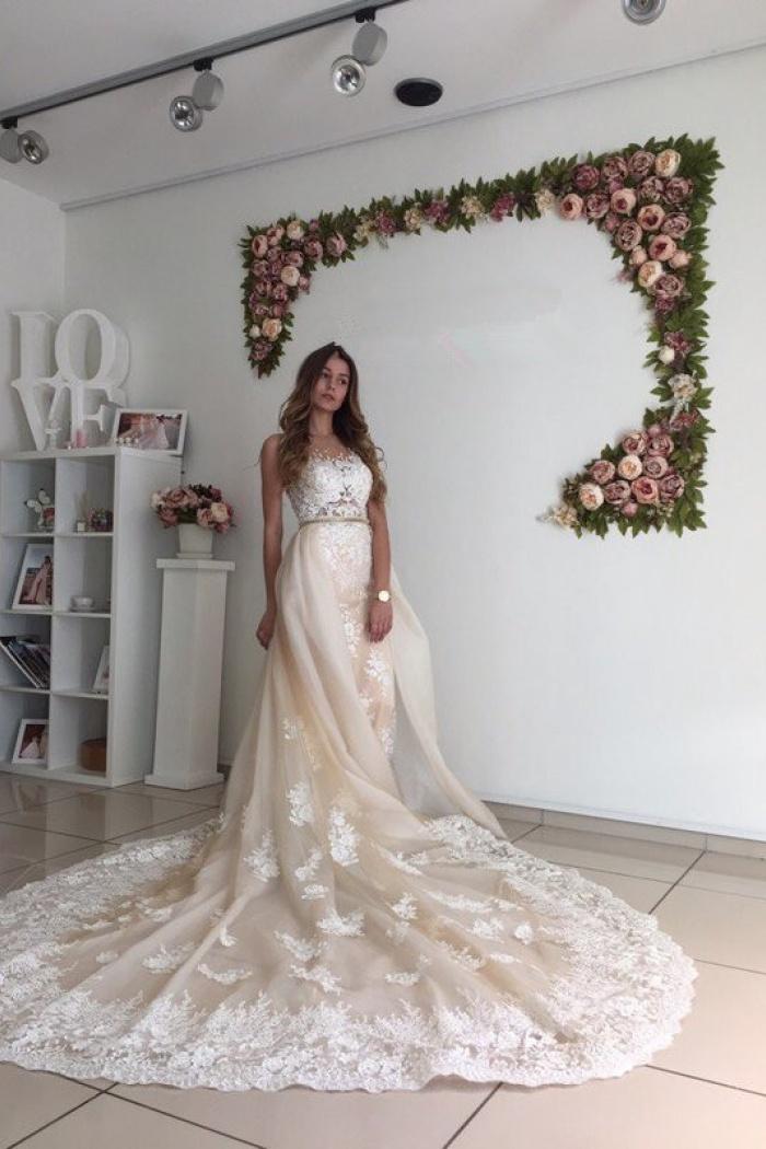 Detachable Wedding Dress.Gorgeous Lace Detachable Bride Dress 2018 Cathedral Train Mermaid Tulle Champagne Wedding Dresses