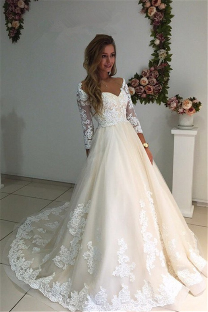 3/4 Sleeves Bridal Gowns 2018 A,Line Champagne Appliques Tulle Backless  Lace Wedding Dresses