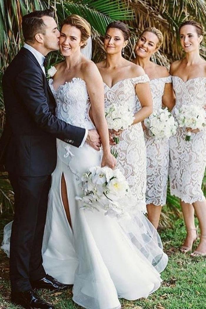 Sheath Off Shoulder Mid Calf Ivory Lace Bridesmaid Dress