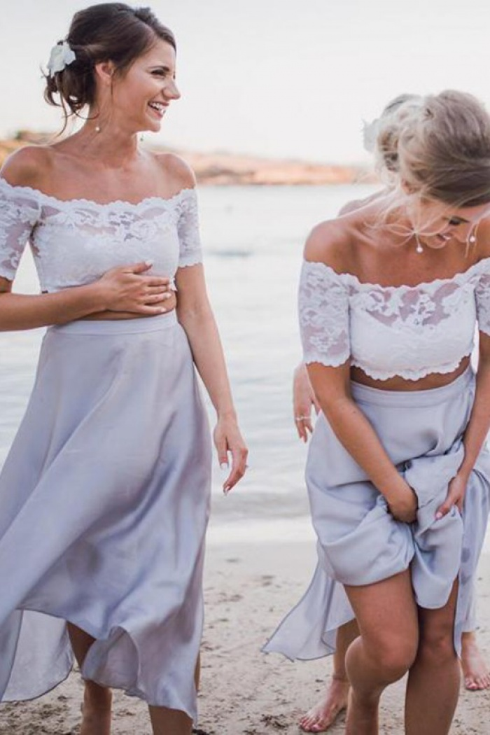 Two Piece Off-the-Shoulder Light Grey Bridesmaid Dress with Lace ...