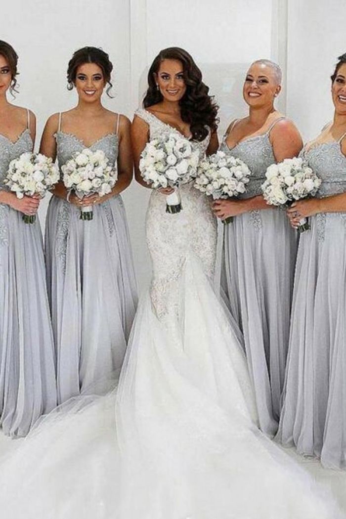 A Line Spaghetti Straps Grey Tulle Bridesmaid Dress With Appliques Wisebridal Com