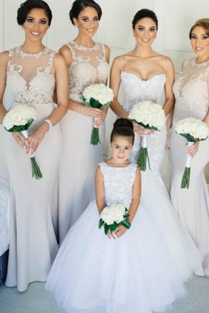 cbeeeaca2916 Mermaid Jewel Sweep Train Lavender Bridesmaid Dress with Appliques ...