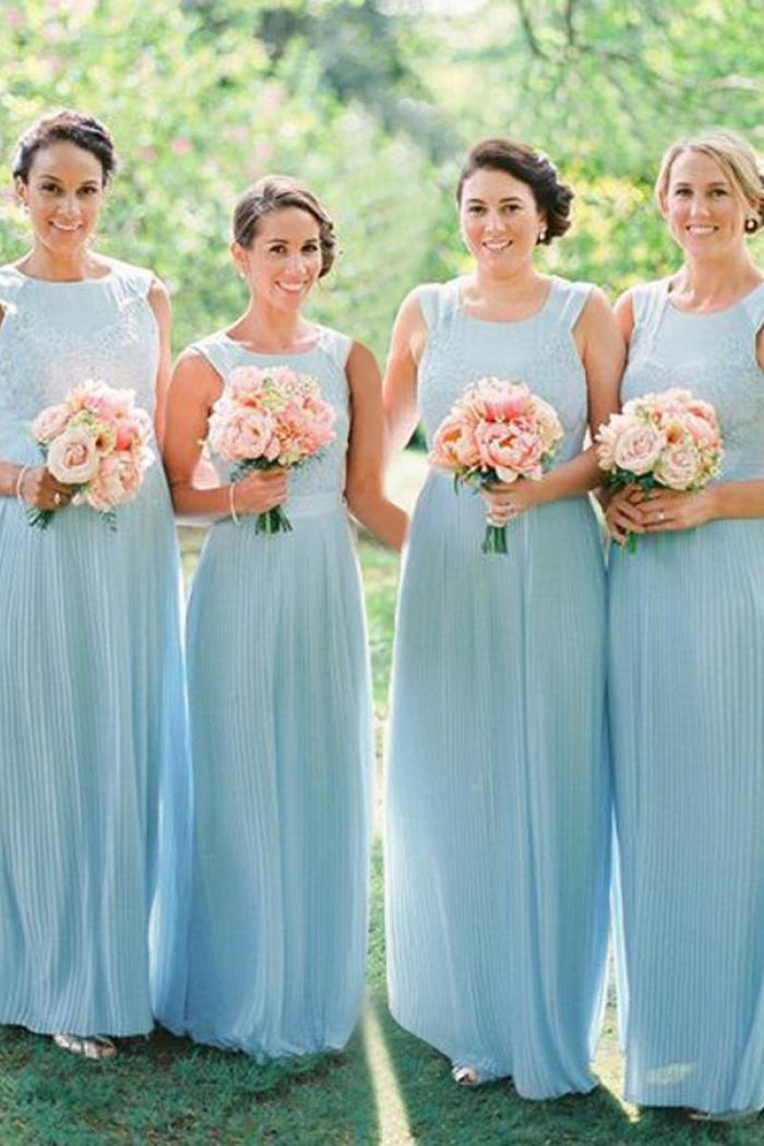 A-Line Bateau Light Sky Blue Chiffon Bridesmaid Dress with Lace ...