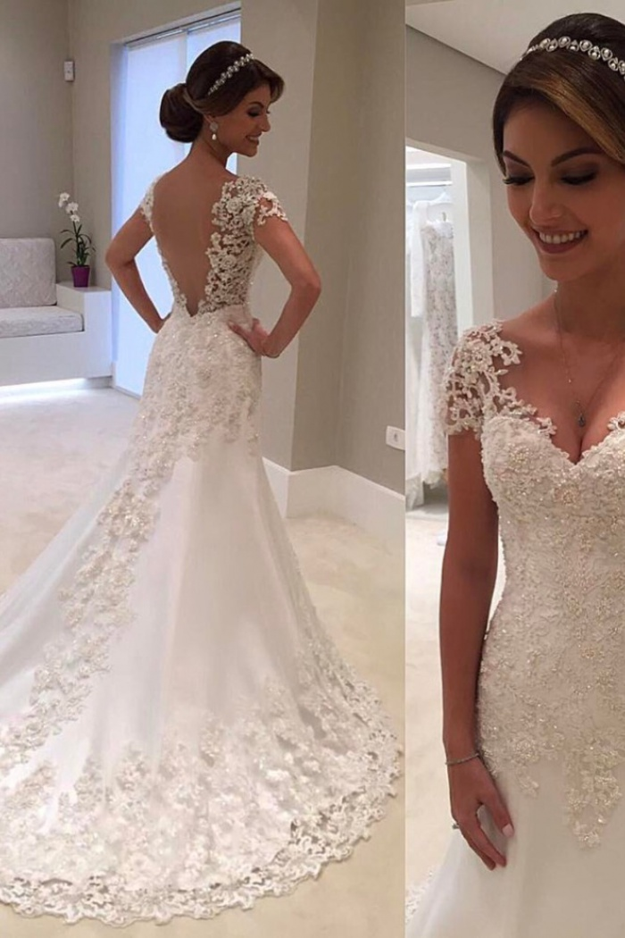 Gorgeous Lace Short Sleeves Bride Dresses 2018 Mermaid Wedding Dress