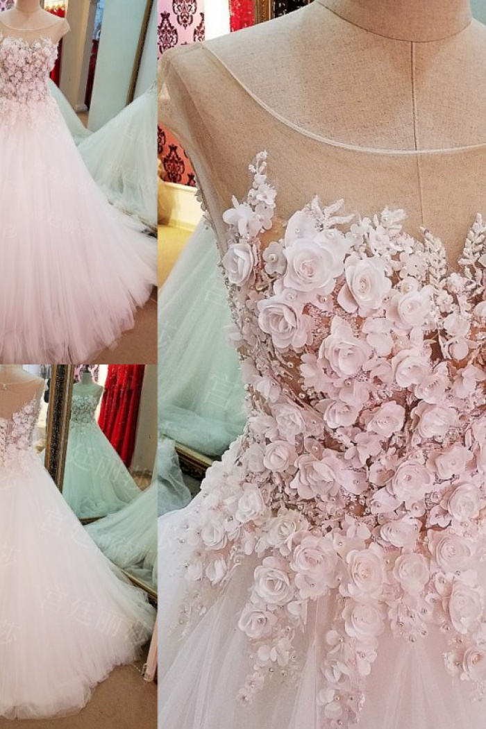 Ball Gown Cap Sleeves Luxury Flowers Lace Up Wedding Dress