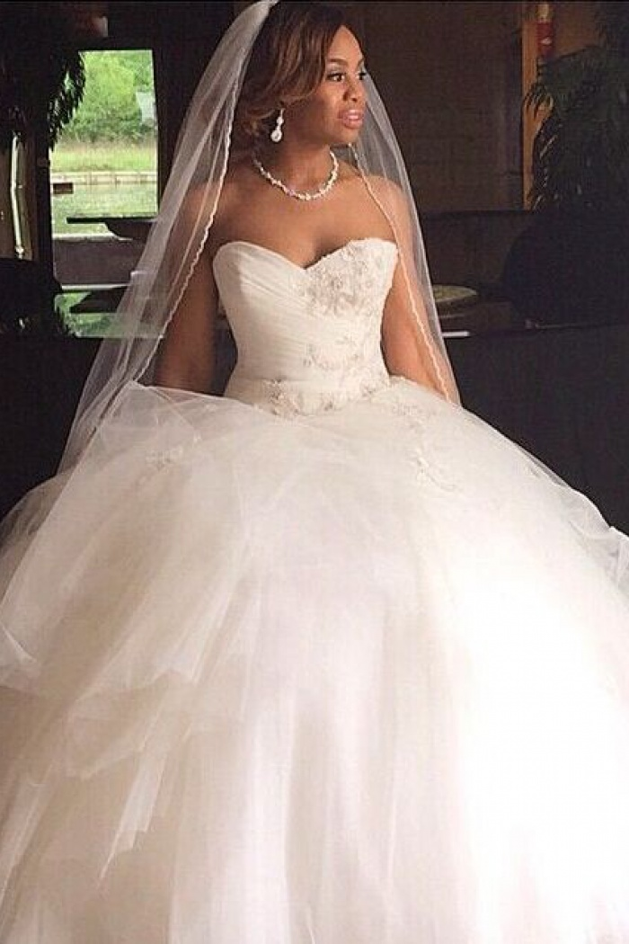 Sweetheart Puffy Tulle Princess Bridal Gown Appliques Gorgeous 2018 ...