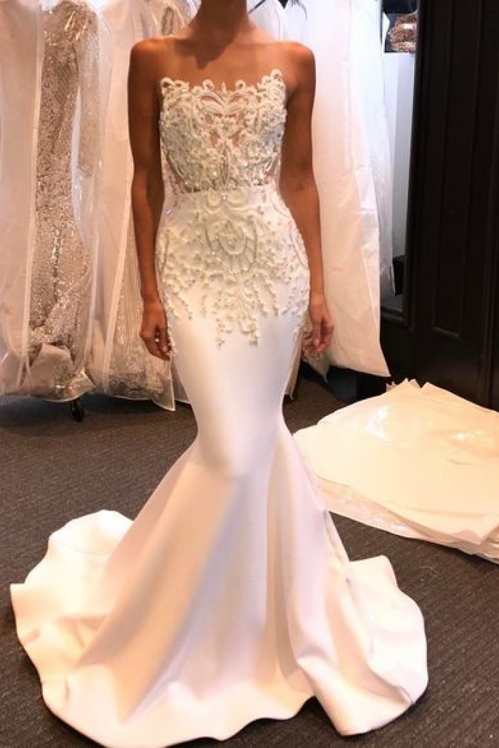 Shiny Long Mermaid Evening Gown 2018 Beading White Prom Dresses ...