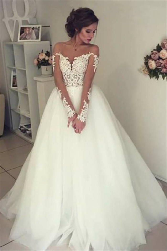 Sheer Long Sleeve Lace Wedding Dresses 2018 Open Back Tulle Ball Gown Bridal Dress 0